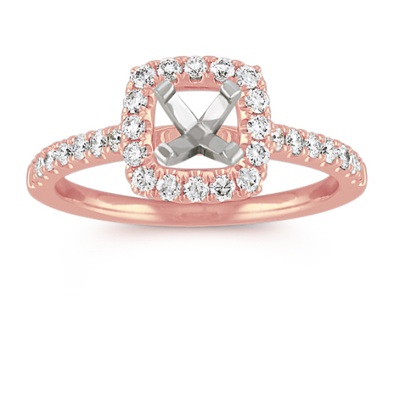 Pave-Set Halo Engagement Ring in 14k Rose Gold