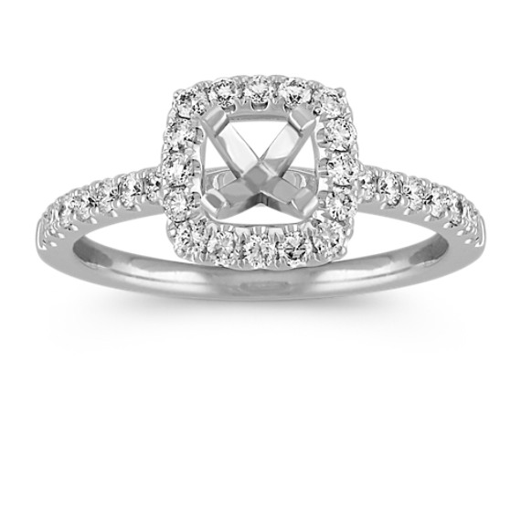 Pave-Set Halo Engagement Ring in 14k White Gold