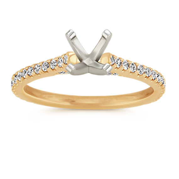 Pave-Set Round Diamond Cathedral Engagement Ring in 14k Yellow Gold