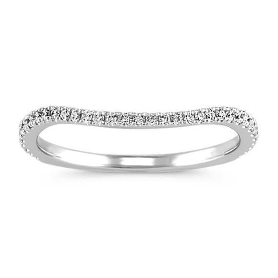 Pave-Set Round Diamond Contour Wedding Band
