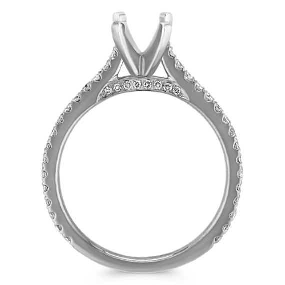 Pave-Set Round Diamond Engagement Ring in 14k White Gold image