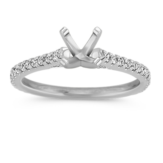 Pave-Set Round Diamond Engagement Ring in 14k White Gold