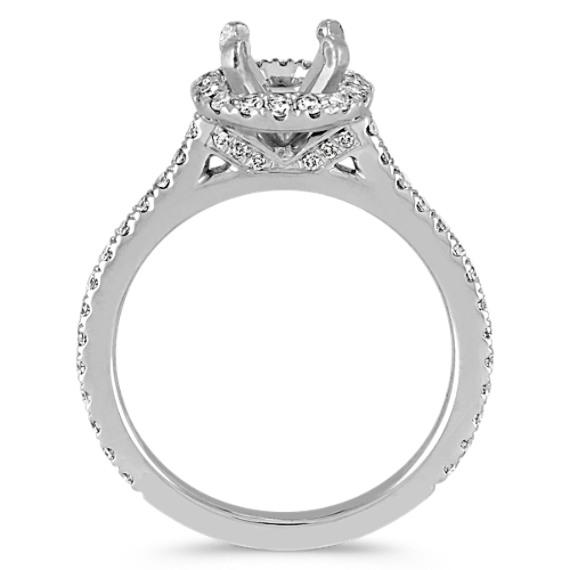 Pave-Set Round Diamond Halo Platinum Engagement Ring image