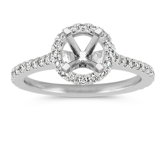 Pave-Set Round Diamond Halo Platinum Engagement Ring