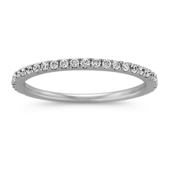 Pave-Set Round Diamond Platinum Wedding Band