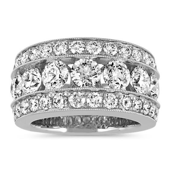 Pave-Set Round Diamond Ring in 14k White Gold
