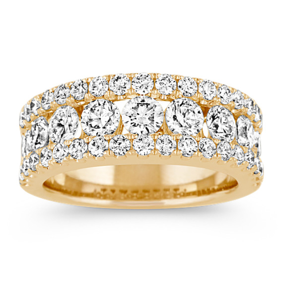 Pave-Set Round Diamond Ring in 14k Yellow Gold