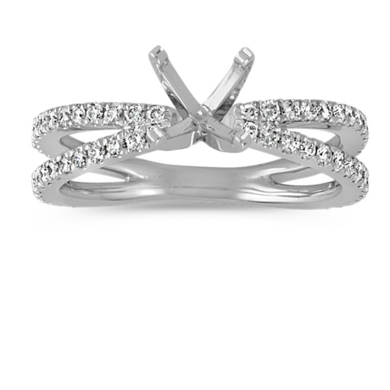 Pave-Set Round Diamond Split Shank Engagement Ring