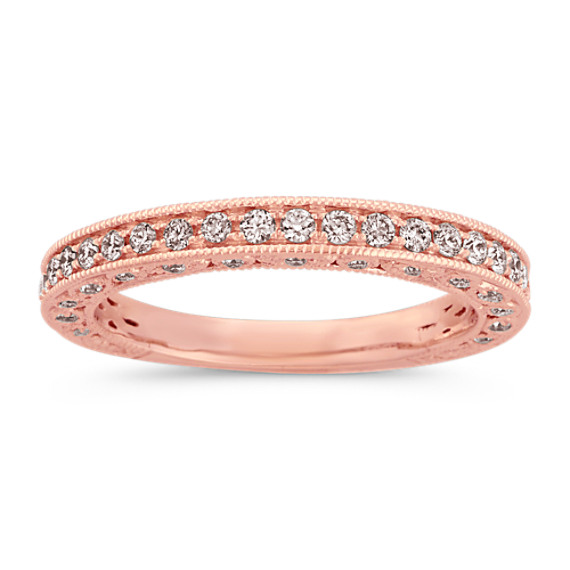 Pave-Set Round Diamond Vintage Wedding Band in 14k Rose Gold