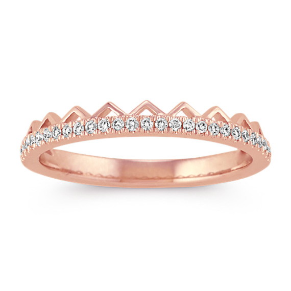Pave-Set Round Diamond Wedding Band in Rose Gold