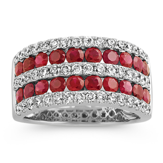 Pave-Set Ruby and Diamond Ring in 14k White Gold