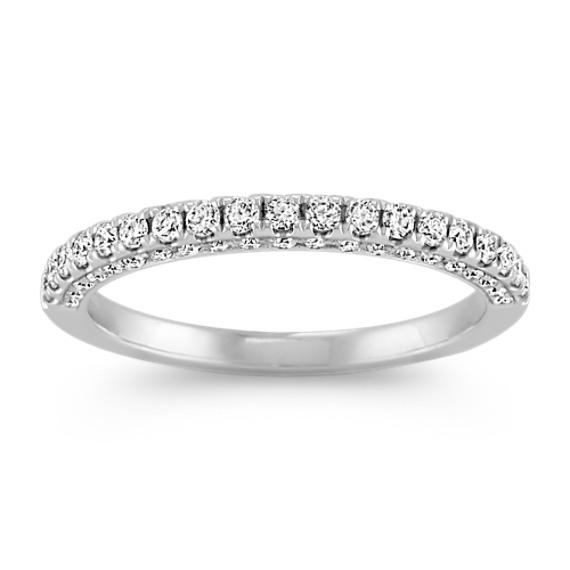 Pave Set Three-Sided Diamond Wedding Band