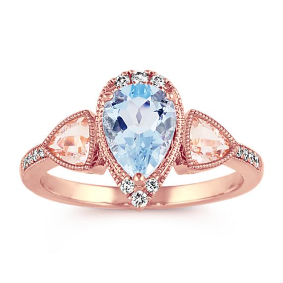 Pear-Shape Aquamarine, Trillion-Cut Morganite and Round Diamond Ring