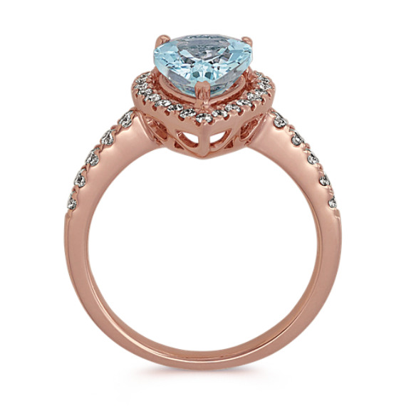 Pear-Shaped Aquamarine and Diamond Ring image