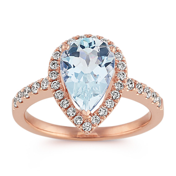 Pear-Shaped Aquamarine and Diamond Ring