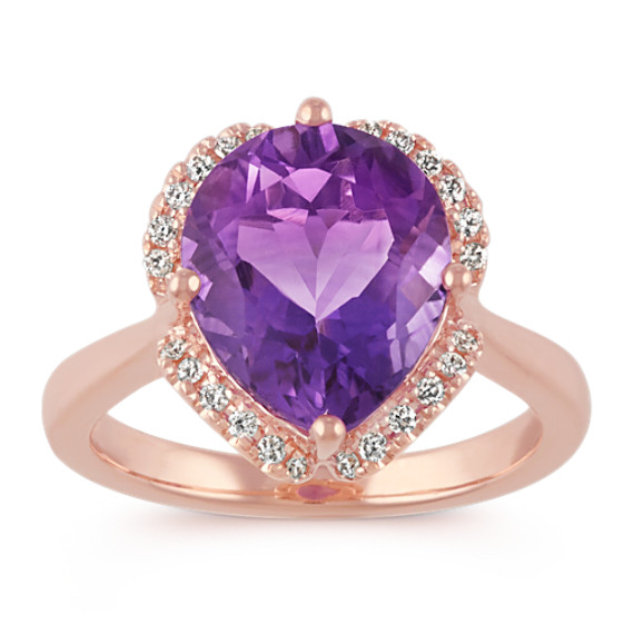 Pear-Shaped Amethyst and Round Diamond 14k Rose Gold Ring