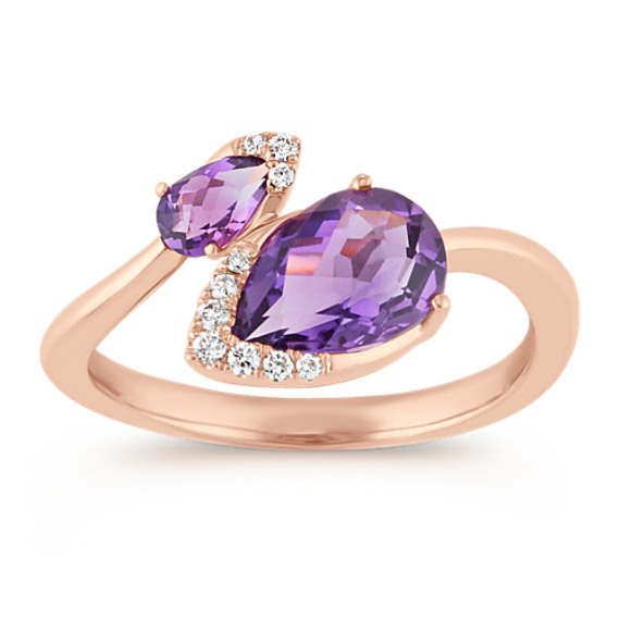 Pear-Shaped Amethyst and Round Diamond Ring in 14k Rose Gold