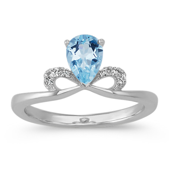Pear-Shaped Aquamarine with Round Diamond Ring in Sterling Silver