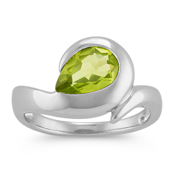 Pear-Shaped Bezel-Set Peridot Ring in Sterling Silver