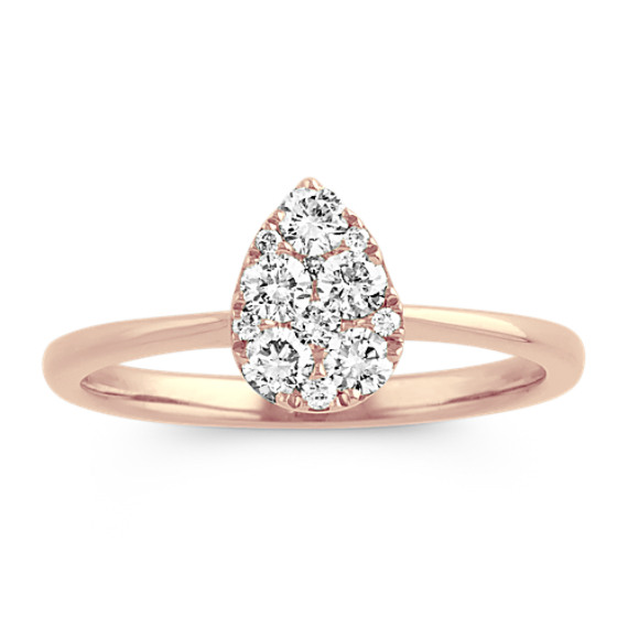 Pear-Shaped Cluster Diamond Ring in 14k Rose Gold
