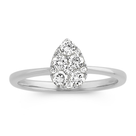 Pear-Shaped Cluster Diamond Ring in 14k White Gold