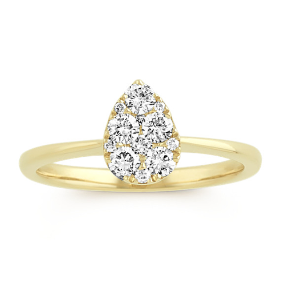 Pear-Shaped Cluster Diamond Ring in 14k Yellow Gold