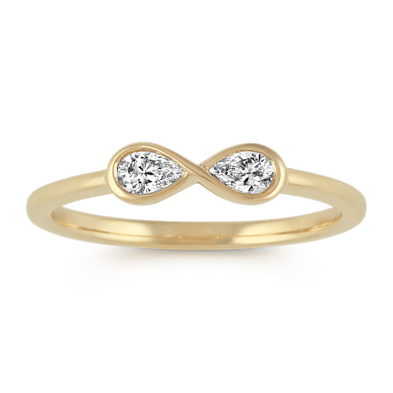 Pear-Shaped Diamond Infinity Ring in 14k Yellow Gold