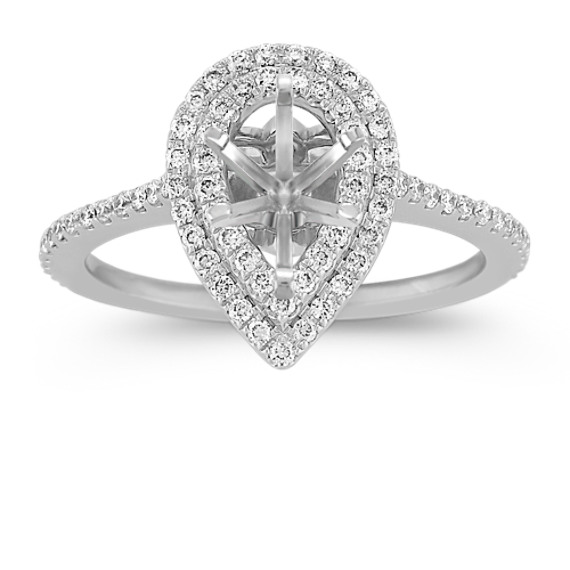 Pear-Shaped Double-Halo Diamond Engagement Ring