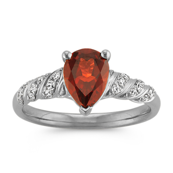 Pear-Shaped Garnet and Round Diamond Twisted Swirl Ring in 14k White Gold