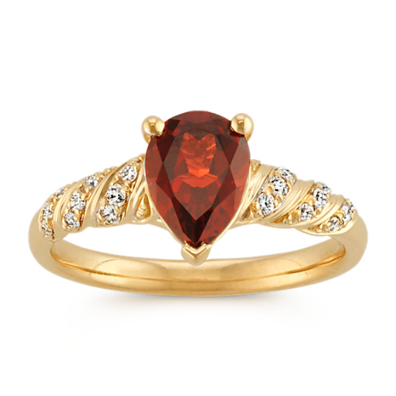 Pear-Shaped Garnet and Round Diamond Twisted Swirl Ring in 14k Yellow Gold