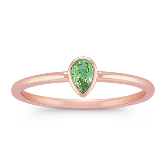 Pear-Shaped Green Sapphire Stackable Ring in 14k Rose Gold
