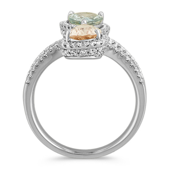 Pear-Shaped Green Sapphire and Peach Sapphire Ring with Diamond Accent image