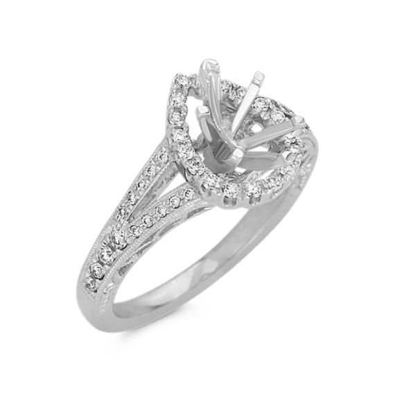 Pear Shaped Halo Diamond Engagement Ring With Pave Setting Shane Co