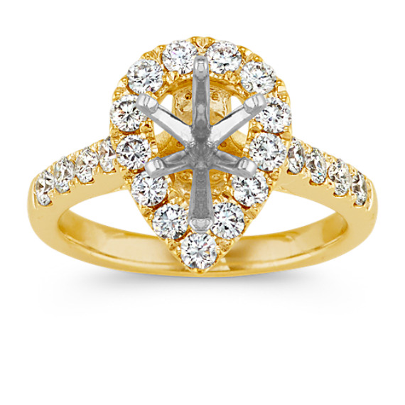 Pear-Shaped Halo Engagement Ring in 14k Yellow Gold