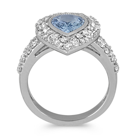 Pear-Shaped Ice Blue Sapphire and Round Diamond Ring with Milgrain Detail image