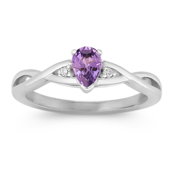 Pear-Shaped Lavender Sapphire and Round Diamond Ring