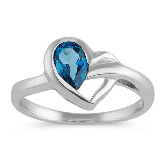 Pear-Shaped London Blue Topaz Heart Ring