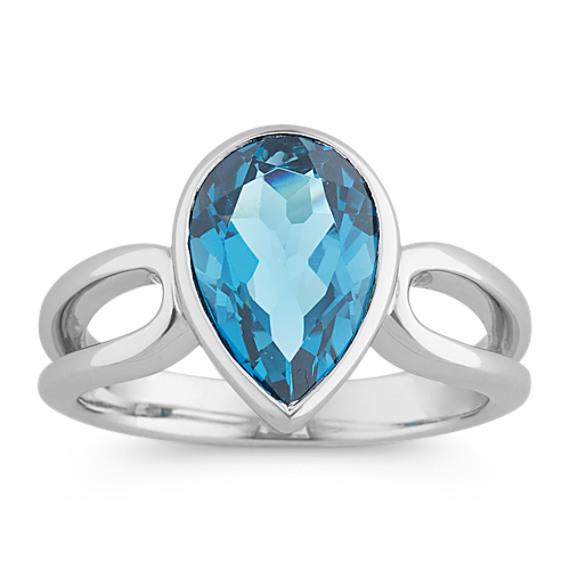 Pear-Shaped London Blue Topaz Ring