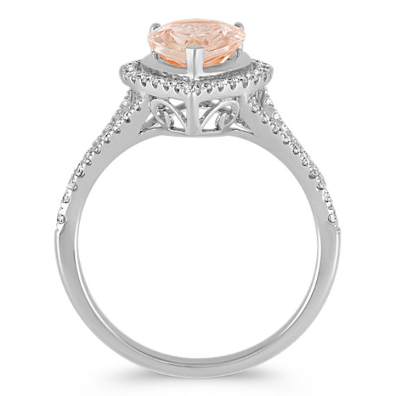 Pear-Shaped Morganite and Diamond Ring in 14k White Gold image