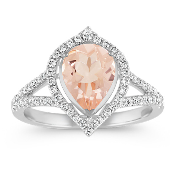 Pear-Shaped Morganite and Diamond Ring in 14k White Gold
