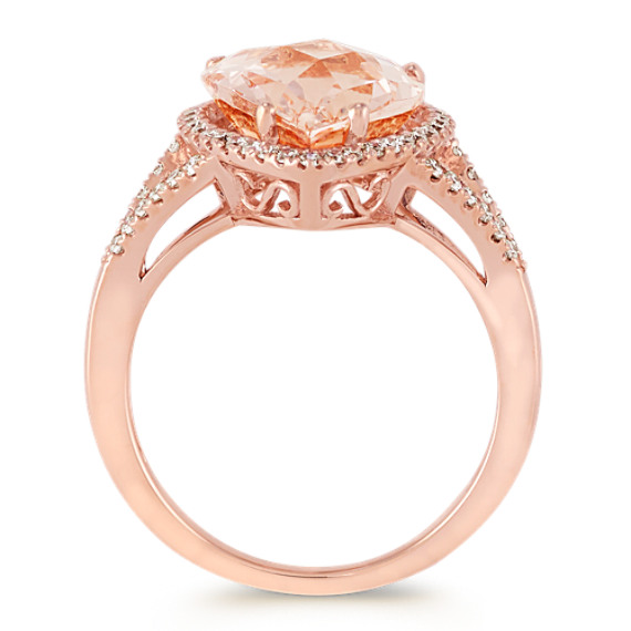 Pear-Shaped Pink Morganite and Diamond Ring in Rose Gold image
