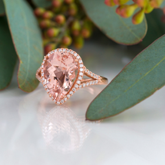Pear Shaped Morganite Enement Ring | Pear Shaped Pink Morganite And Diamond Ring In Rose Gold Shane Co