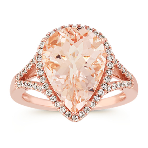 PearShaped Pink Morganite and Diamond Ring in Rose Gold Shane Co