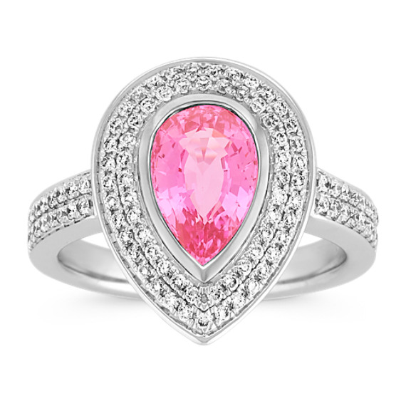 Pear Shaped Pink Sapphire and Diamond Halo Ring with Pave-Setting