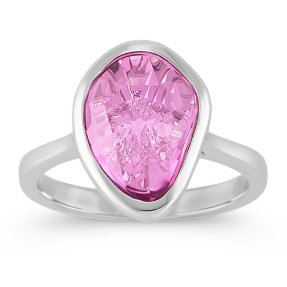 Pear-Shaped Pink Sapphire and Diamond Ring