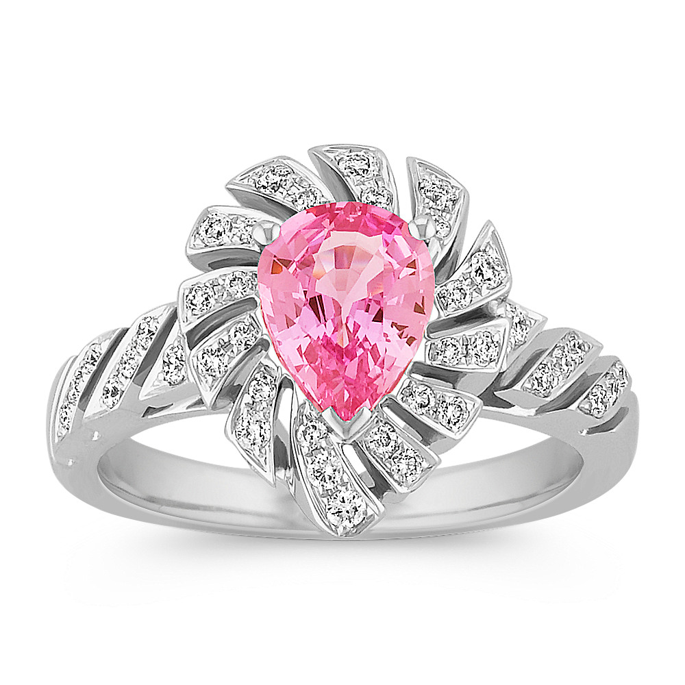 Pear Shaped Pink Sapphire and Round Diamond Ring with Pave-Setting ...