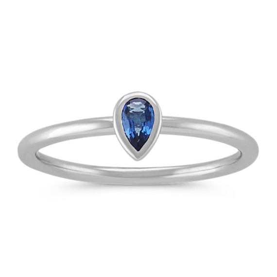 Pear-Shaped Traditional Sapphire Stackable Ring in 14k White Gold