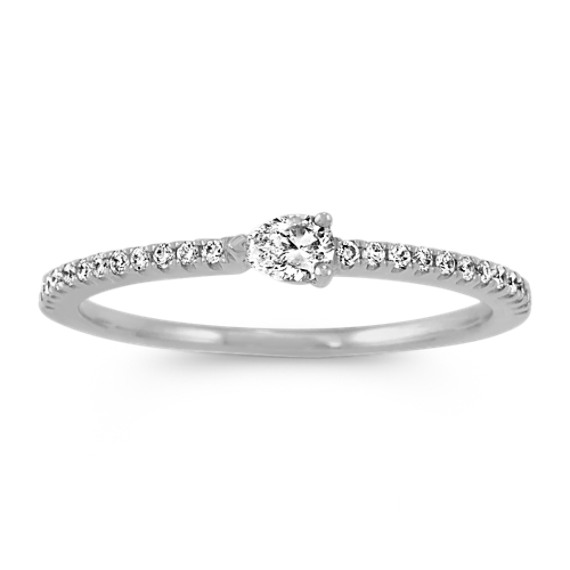 Pear-Shaped and Round Diamond Ring in 14k White Gold