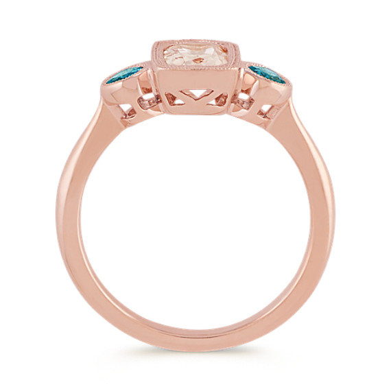 Pink Morganite and London Blue Topaz Ring image