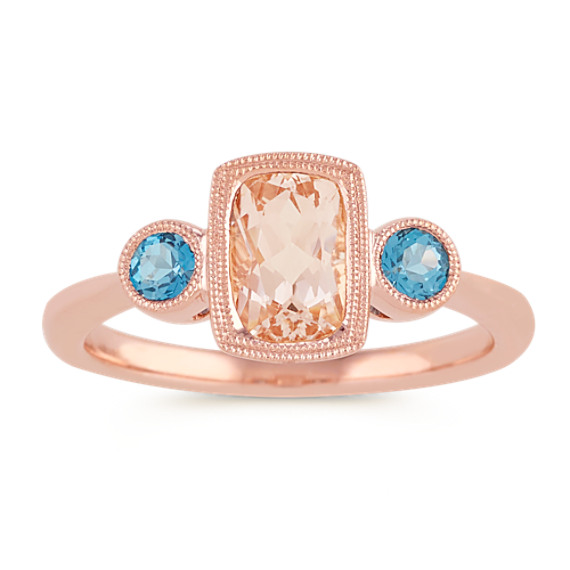 Pink Morganite and London Blue Topaz Ring